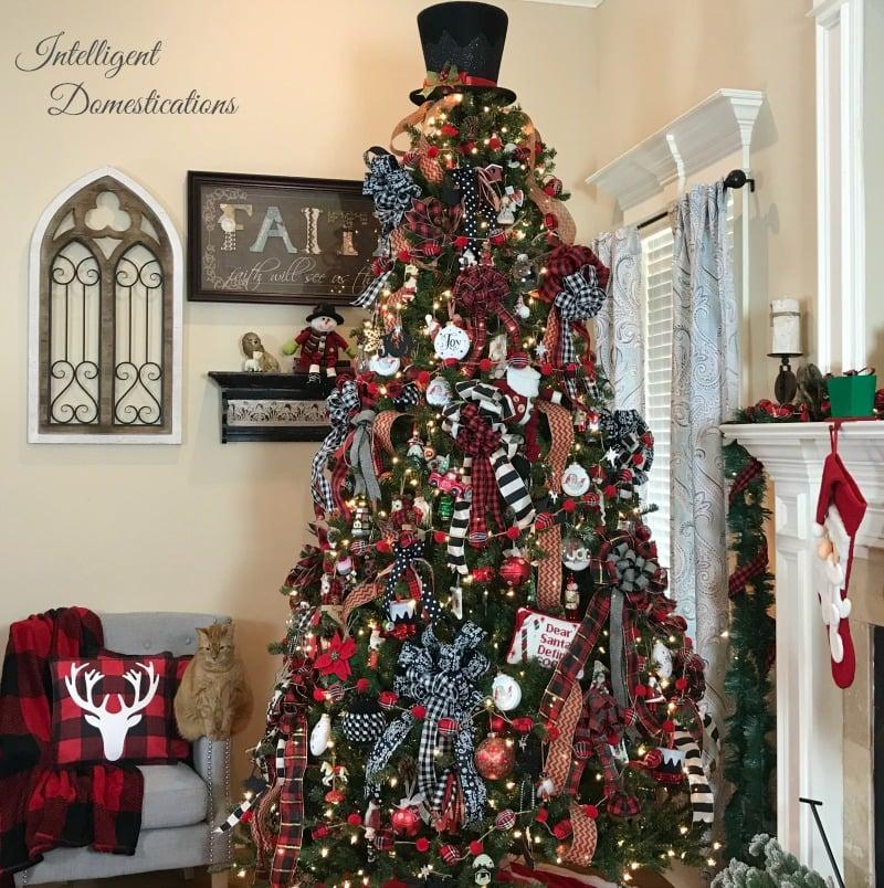 Plaid Decorated Christmas Tree Intelligent Domestications