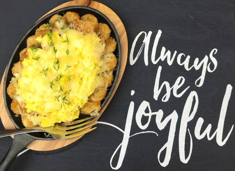Chicken and Cheese Eggs Skillet is an easy recipe for a special breakfast. Serve this dish for Christmas morning or a weeknight dinner during the winter. Breakfast for supper is always good. Chick fil a Hash Brown Bowl copycat. #breakfast