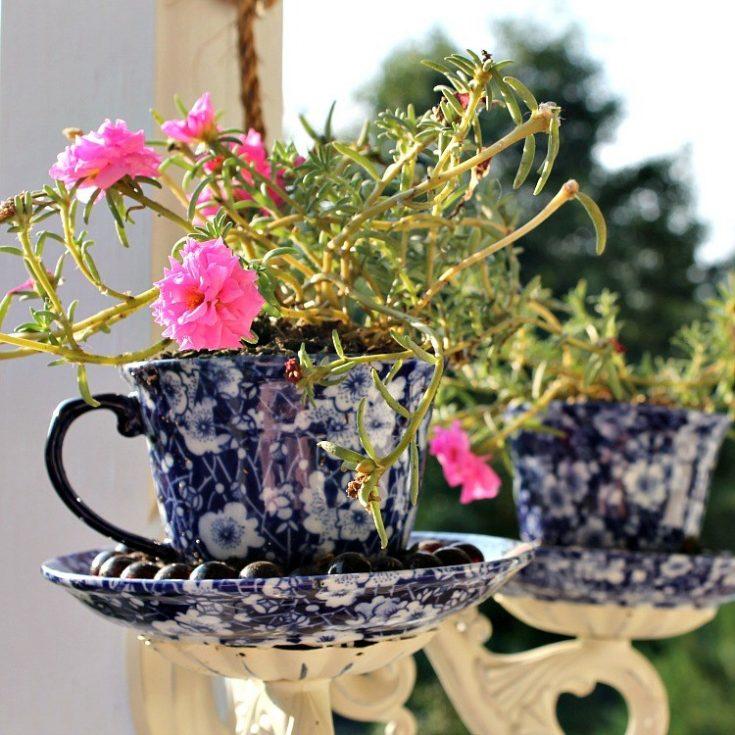 Porch Makeover Project: DIY Tea Cup Sconce Planter