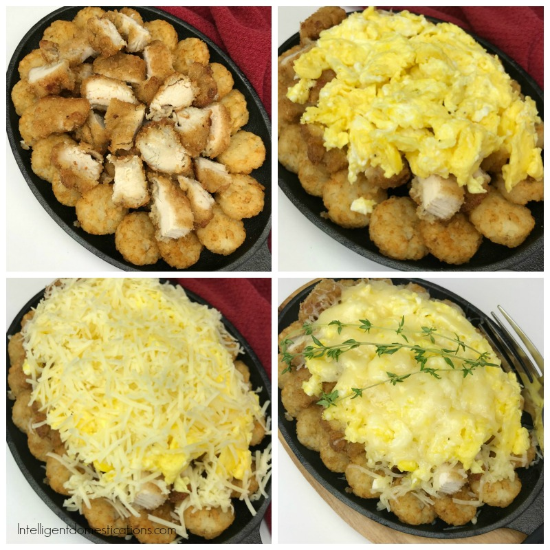 Chicken and Cheese eggs skillet being made in 4 steps