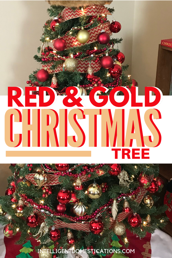 Decorating a Red and Gold Christmas Tree