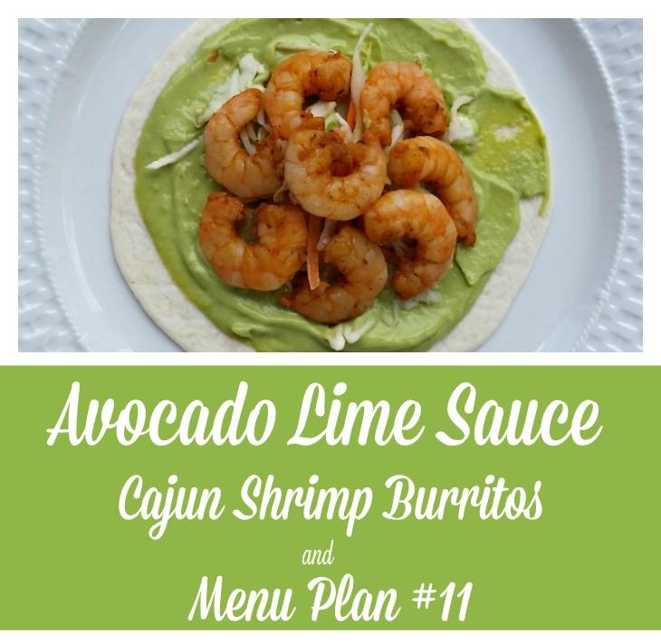 Cajun Shrimp Burritos with Avocado Lime Sauce