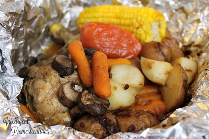 Campfire Grilled Chicken & Veggie Foil Packet Dinner