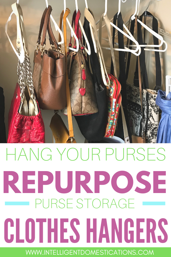 Repurpose clothes hangers as pockebook storage in a closet.