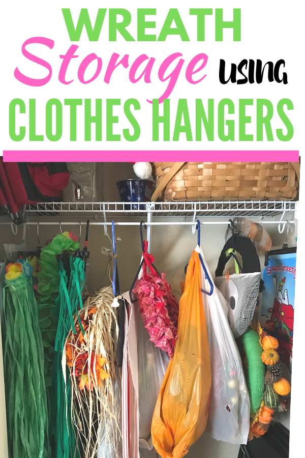 Wreath storage using clothes hangers. Repurpose clothes hangers from clothing to wreath storage and solve a household problem. Wreath storage made easy. #storage