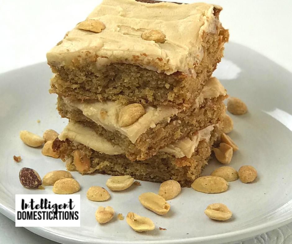 Homemade Peanut Butter Bars recipe with optional Peanuts in the mix