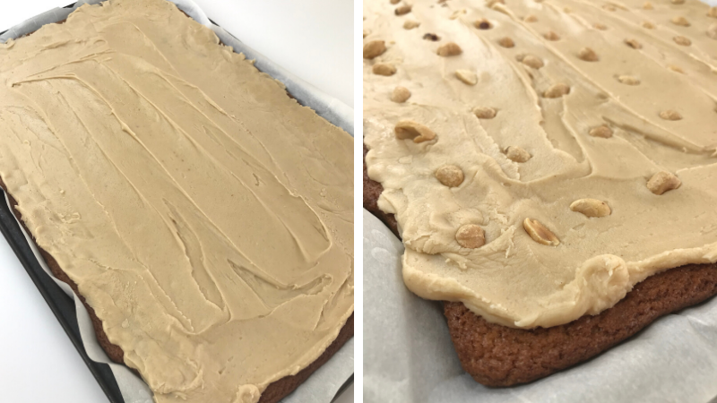 Iced Peanut Butter Bars with and without Peanuts on top