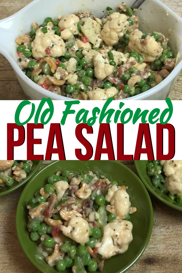 Old Fashioned Pea Salad recipe with bacon, cashews and cauliflower. Made from scratch. Great recipe for Pot Luck dinners and church dinners. A good green food option for St. Patrick's Day or Christmas #intellid