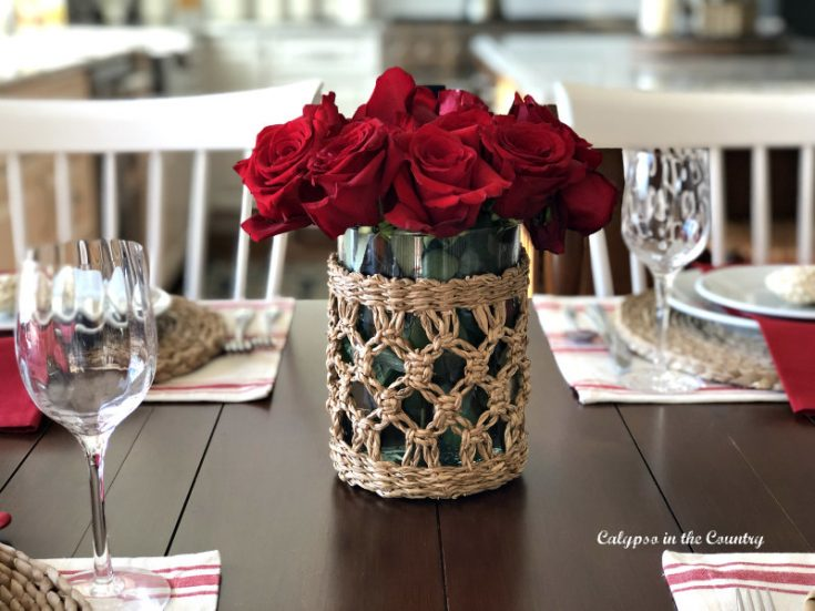 Simple Valentine's Day Tablescape with Classic Red
