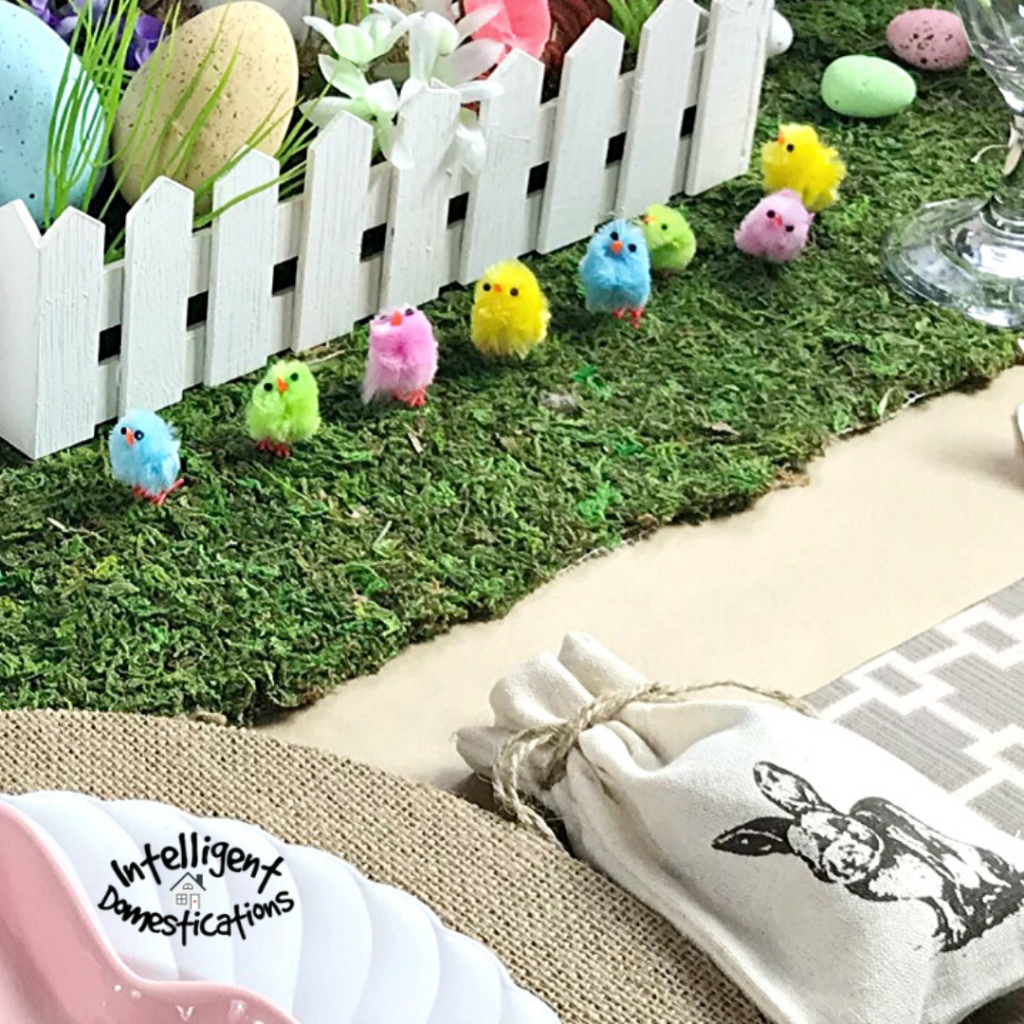 Baby chicks on the Easter tablescape