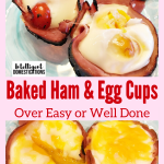 A low carb recipe for Baked Ham and Egg cups good for breakfast or brunch. Grab and go breakfast or fancy dish for a brunch occasion. Easter breakfast idea #bakedeggs #intellid