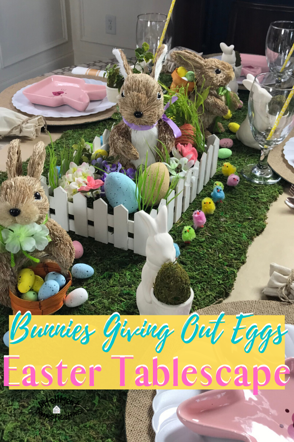 Bunnies Giving Out Eggs for Easter Tablescape. Our Easter Table Decor this year is loaded with Bunnies, little chicks and we even used lambs to complete our Easter Dining room. It's botanical, whimsical and fun. #Easter #Eastertabledecor #intellid
