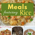 Easy meals featuring rice as a main ingredient or a side dish. Budget stretcher meal ideas made with rice.#ricerecipes #recipeswithrice