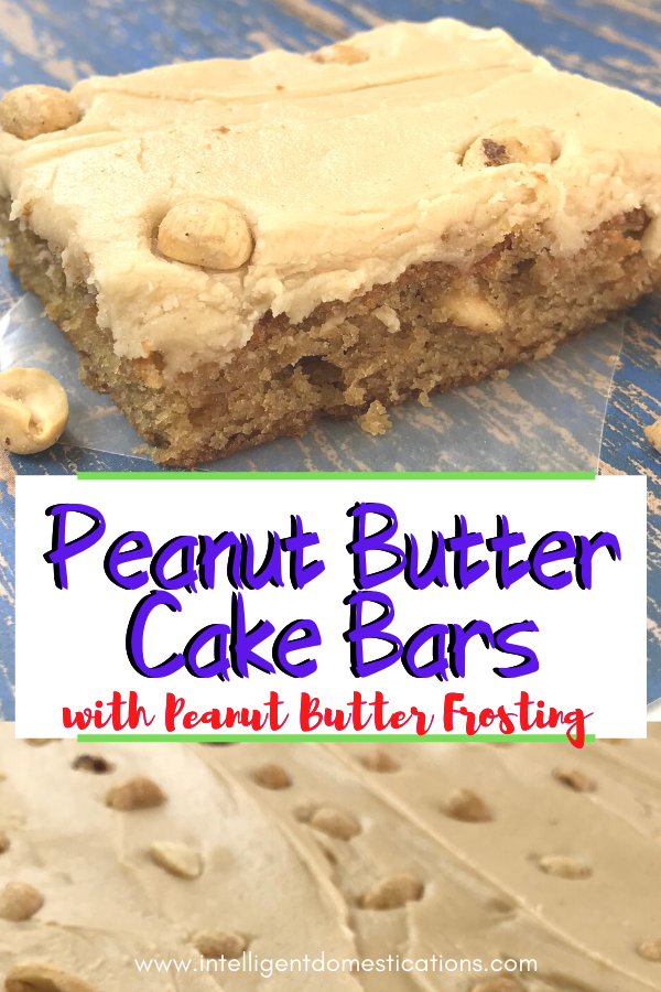Homemade Peanut Butter Bars with Peanut Butter Frosting just like you used to get in the school lunchroom. Made from scratch scrumptious recipe for peanut butter lovers. #peanutbutterdessert #intellid