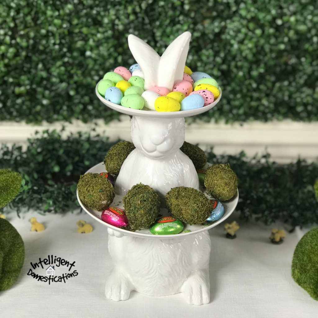 White Ceramic Easter Bunny Two Tier Tray