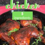 BBQ Chicken Leg Quarters in an Iron Skillet with sprigs of Thymr