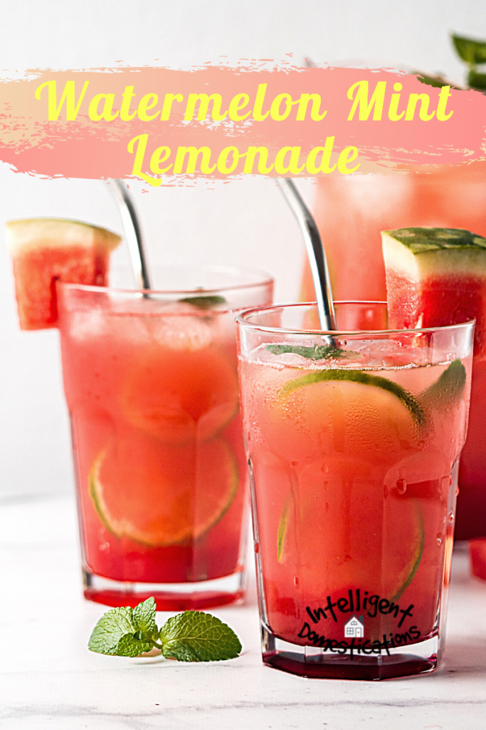 A nice cold refreshing summer drink easy recipe using fresh cut watermelon, mint and lemons. Easy recipe for Mint Simple Syrup included if you like a sweeter lemonade. #lemonade #watermelondrink #summerdrink