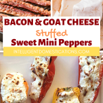 Photos of cooked bacon, goat cheese and cheesy bacon stuffed mini sweet pepper served on a white plate