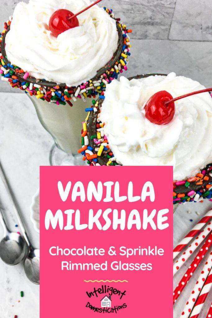 Vanilla Milkshake with whipped cream and cherry on top