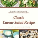 4 pictures of Caesar salad, the ingredients for the dressing and the croutons