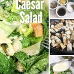Photos of Caesar salad with the Dressing ingredients and croutons displayed