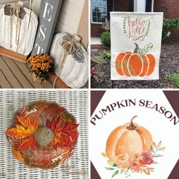 Pictures of four different DIY Fall Pumpkins for decorating the home