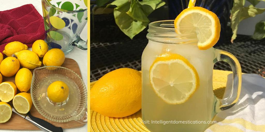 Lemons on a cutting board and a glass of homemade lemonade