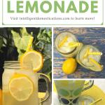 A Mason jar and a pitcher of homemade lemonade