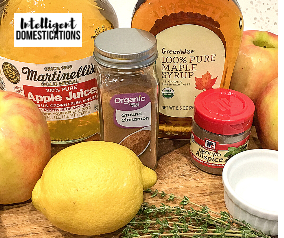 Ingredients for making a Baked Apple Crisp dessert