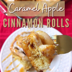 Caramel Apple Cinnamon Rolls on a dish