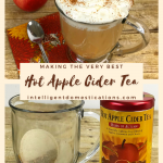 A cup of Hot Apple Cider tea with whipped cream on top