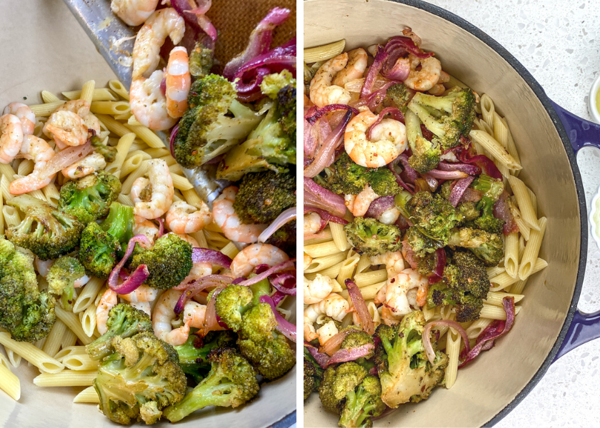 Pour the veggies and shrimp into the pot together