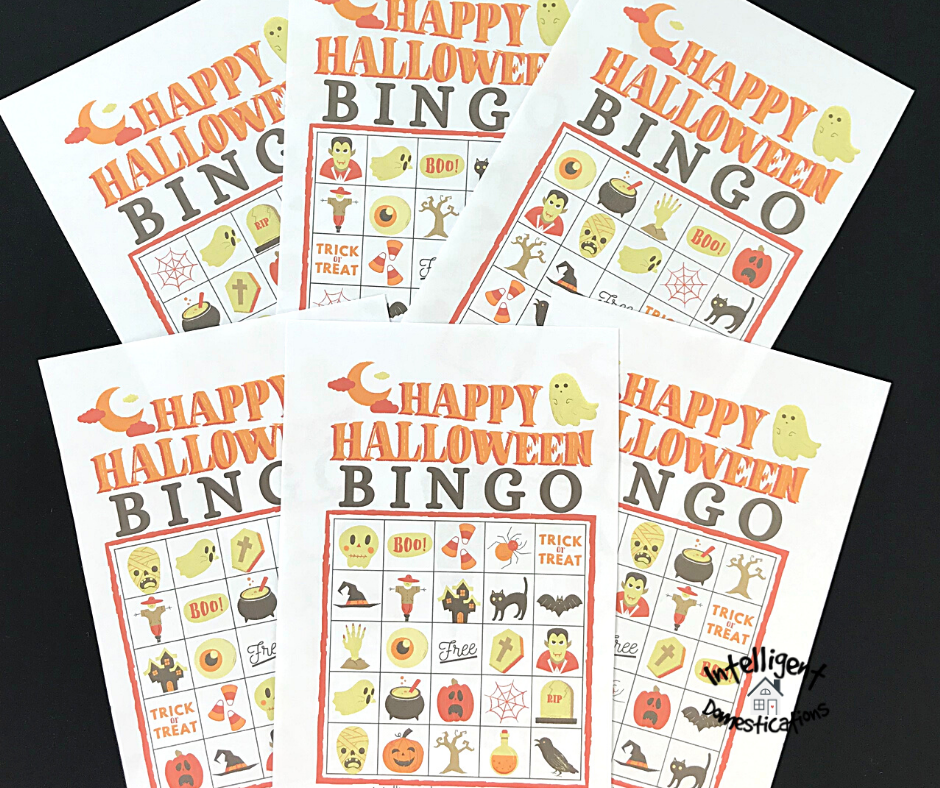 A set of six Bingo cards for Halloween