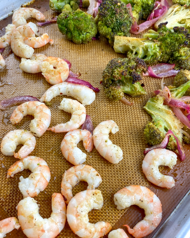 add the shrimp to the baking pan