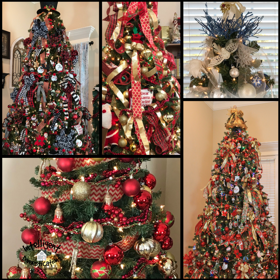 A photo collage of 5 decorated Christmas trees
