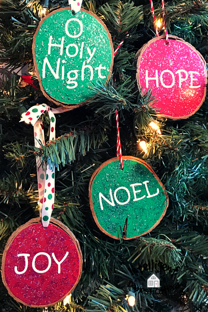 Bright Green and Red Wood Slice Ornaments with Faith words