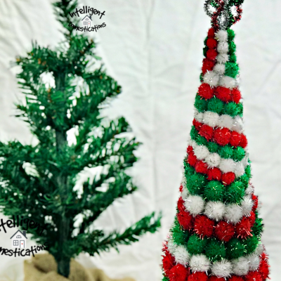 Red Green and White glittery pom pom cone Christmas tree tabletop decoration