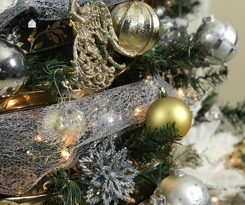 Gold and silver ornaments on the tree