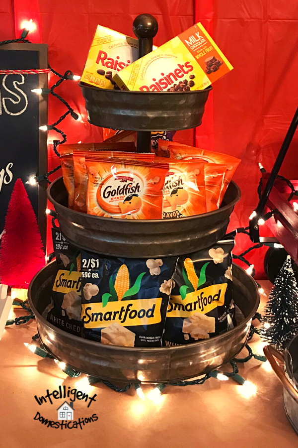 Snacks displayed in a three tier tray