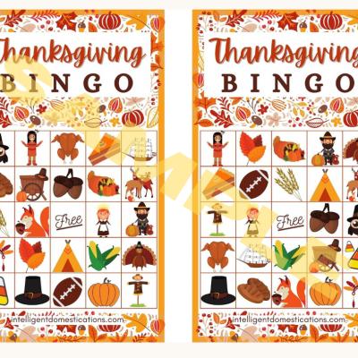 Cute Thanksgiving BINGO Game Printable