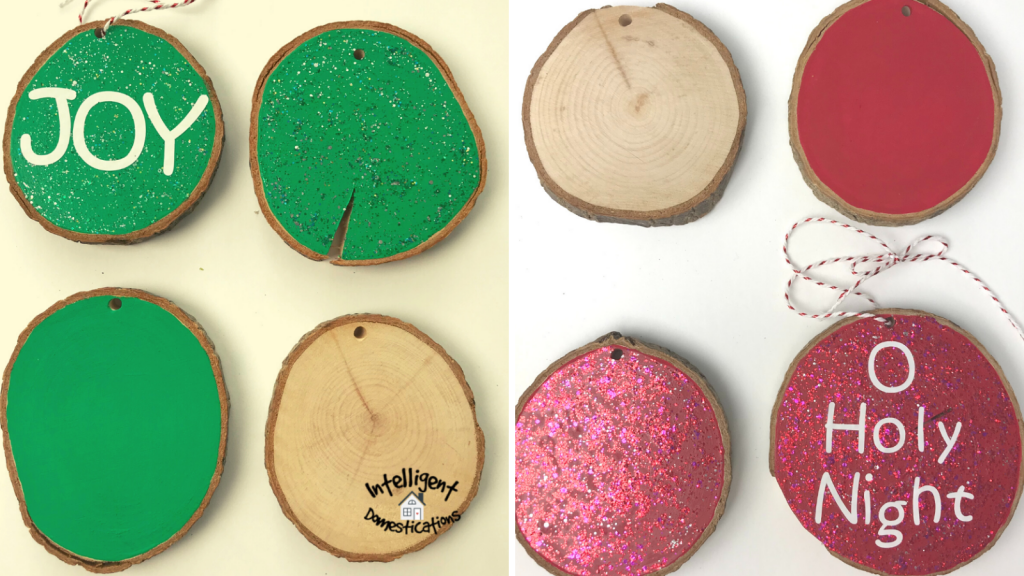 Stages of painting and decorating wood slice ornaments