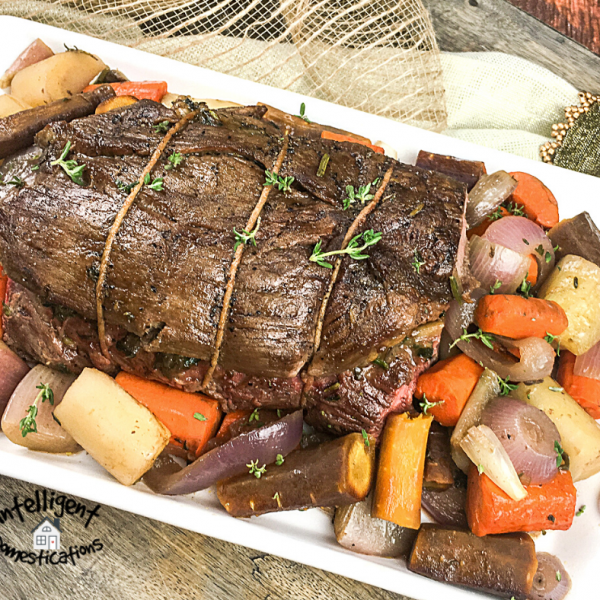 Stuffed Beef Tenderloin with Carrots and Shallots