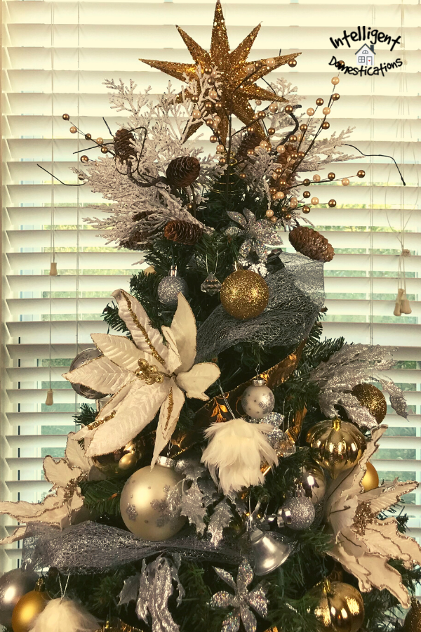 Gold and silver decorated Christmas tree top