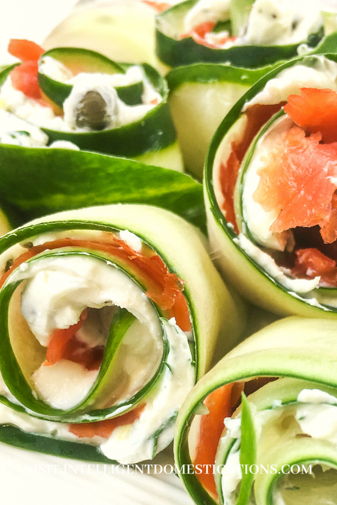 Cucumbers rolled and stuffed with a cream cheese and salmon mixture