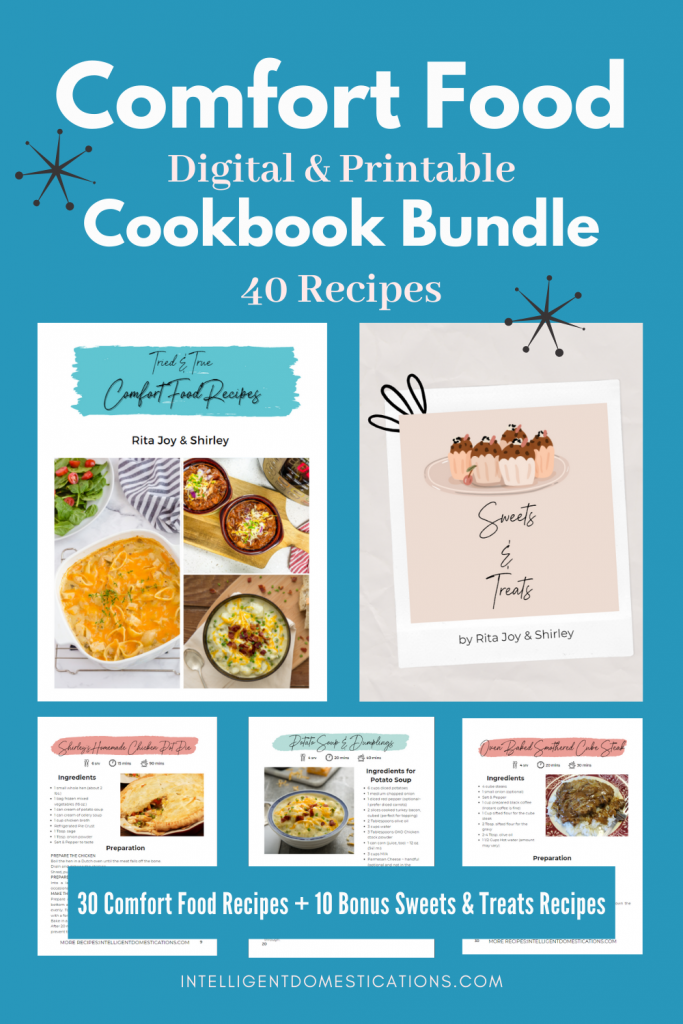 pictures of a digital cookbook bundle with front covers and sample recipes