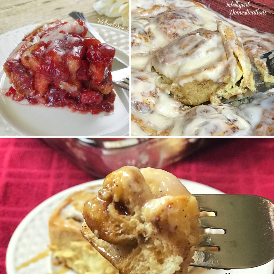 3 pastry desserts, cherry stuffed sweet rolls, pumpkin spice sweet rolls and apple stuffed sweet rolls on a white dish