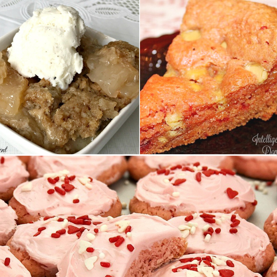 a collage of three desserts; apple dumplings, strawberry brownies and strawberry cookies with icing