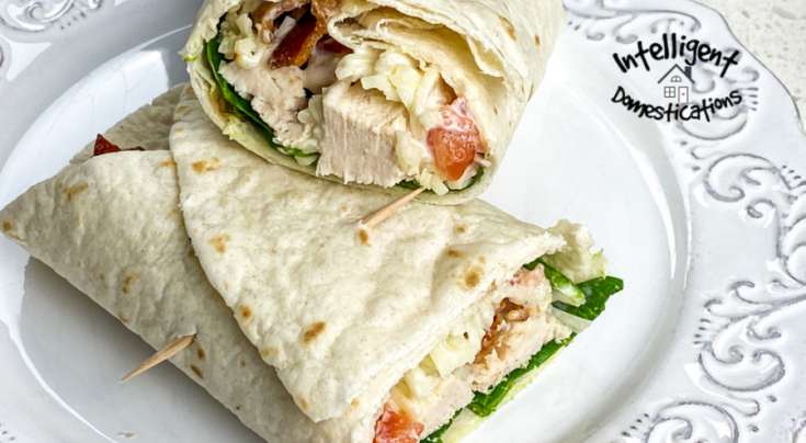 Chicken wraps with lettuce and tomato on a white dish