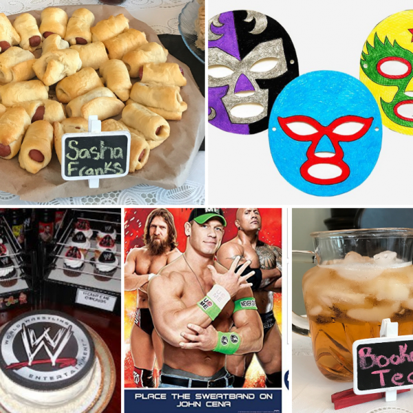 photo collage of wrestling party ideas