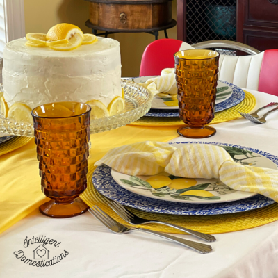 A Summer Lemon Tablescape  In The Kitchen
